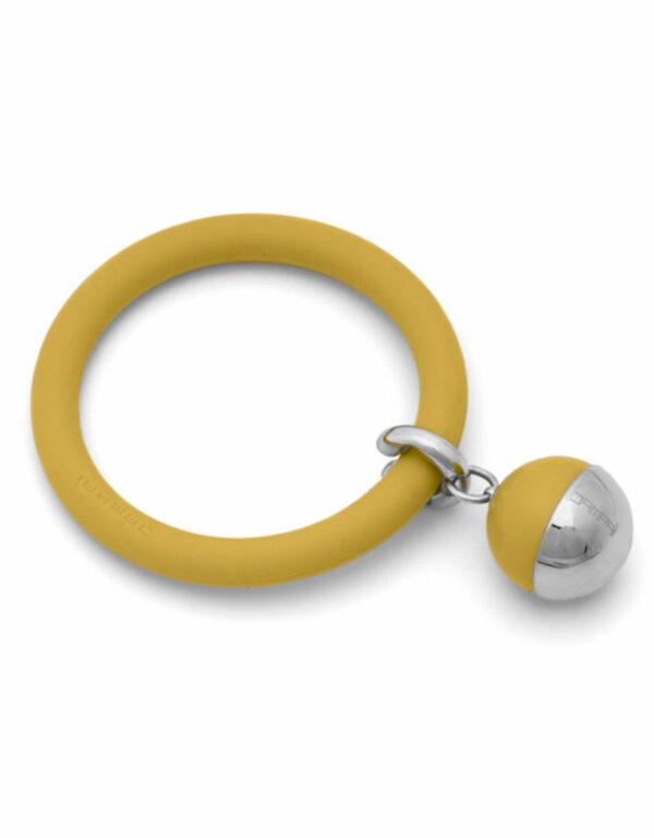 Braccialetto LOVEJOY in silicone con pendente in acciaio e sfera colorata Giallo Banana Dampaì