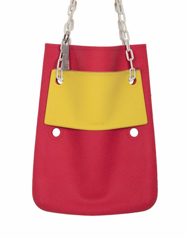 Dampaì silicone bags: yellow clutch bag + red Cini N°2 shoulder bag