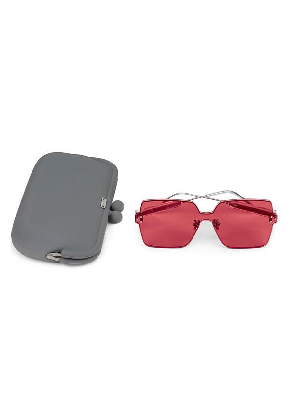 Occhiale da sole quadrato senza montatura colore rosso cherry Dampaì