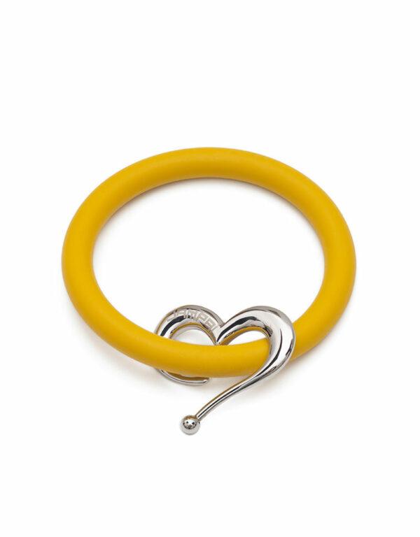 Braccialetti Bernardo&Cuore in silicone colore giallo smile con accessorio in acciaio Dampaì