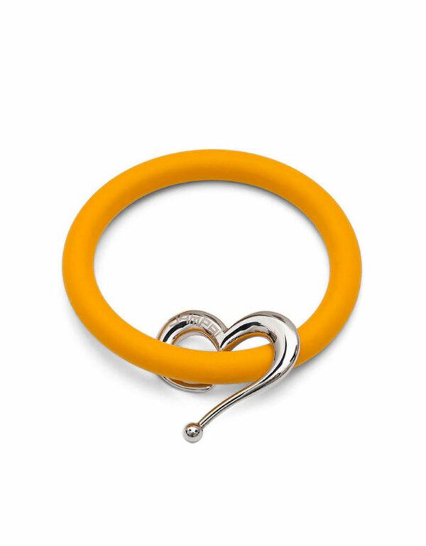 Braccialetti Bernardo&Cuore in silicone colore arancio con accessorio in acciaio Dampaì
