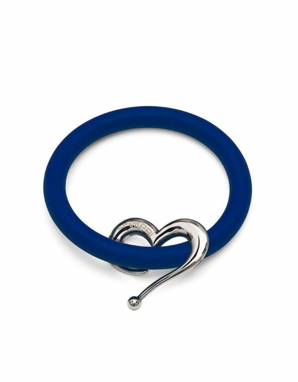 Braccialetti Bernardo&Cuore in silicone colore blu con accessorio in acciaio Dampaì