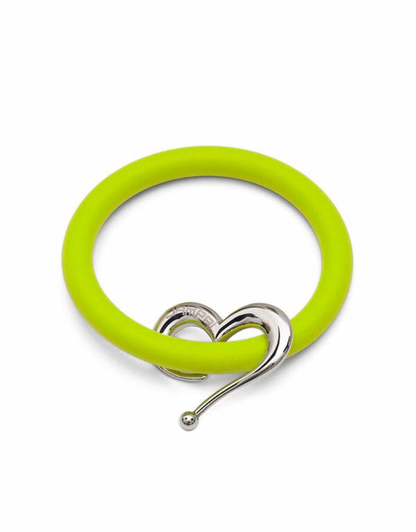 Braccialetti Bernardo&Cuore in silicone colore verde smile con accessorio in acciaio Dampaì