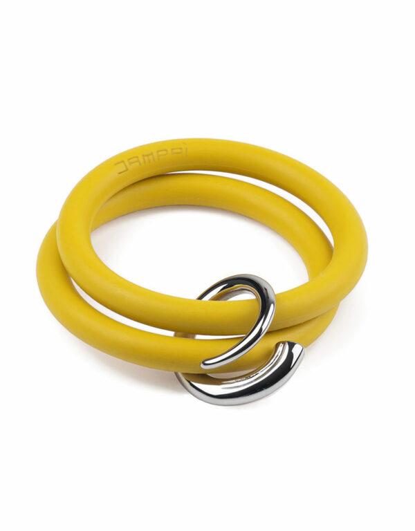 Braccialetti Bernardo&Girella in silicone colore giallo smile con accessorio in acciaio Dampaì