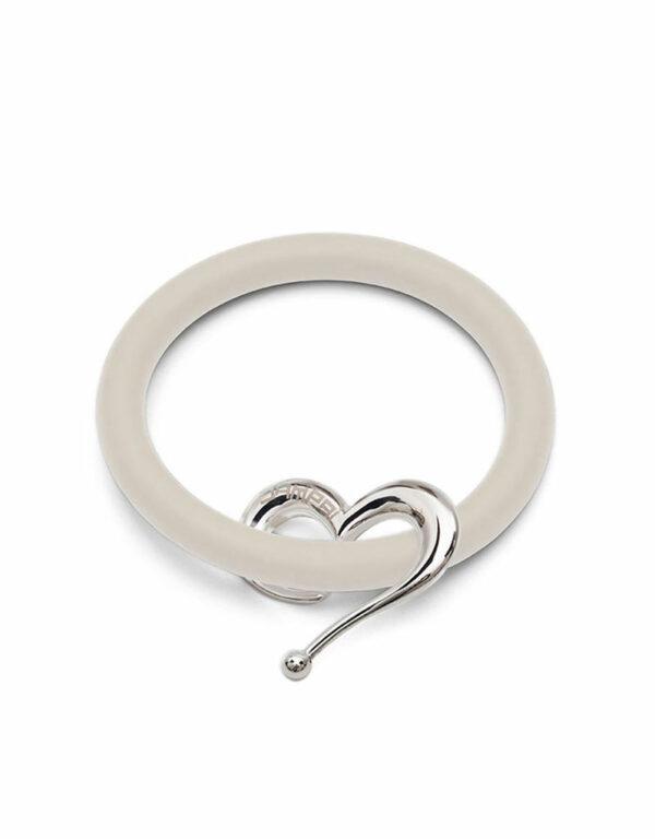 Bernardo & Heart bracelets in cream-colored silicone with Dampaì steel accessory