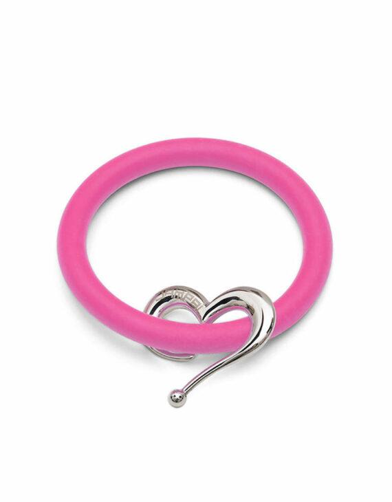 Bernardo & Heart bracelets in shocking pink silicone with Dampaì steel accessory