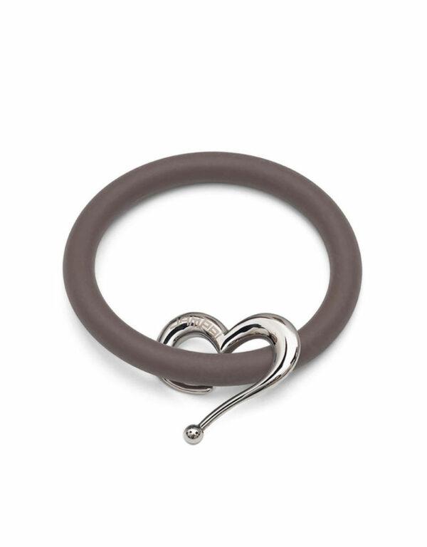 Bernardo & Heart bracelets in toffee silicone with Dampaì steel accessory