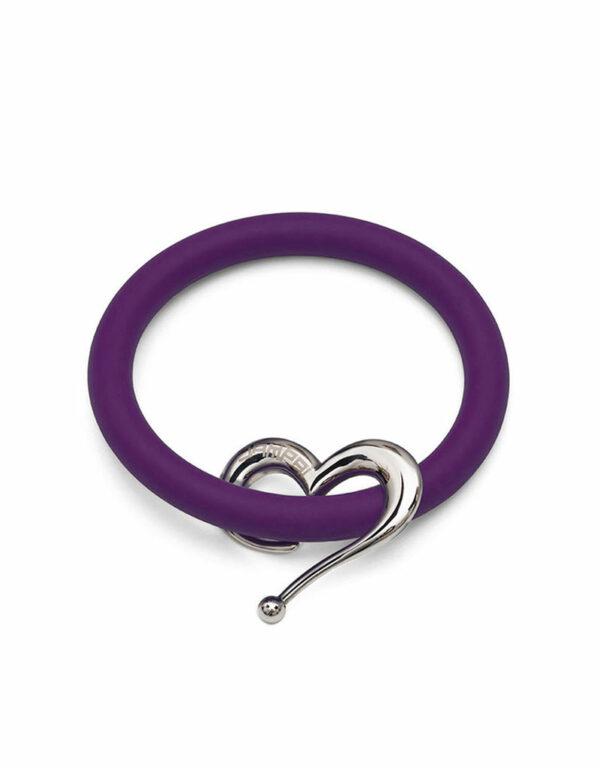 Braccialetti Bernardo&Cuore in silicone colore viola con accessorio in acciaio Dampaì