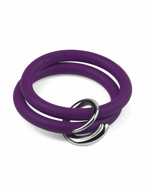 Braccialetti Bernardo&Girella in silicone colore viola con accessorio in acciaio Dampaì