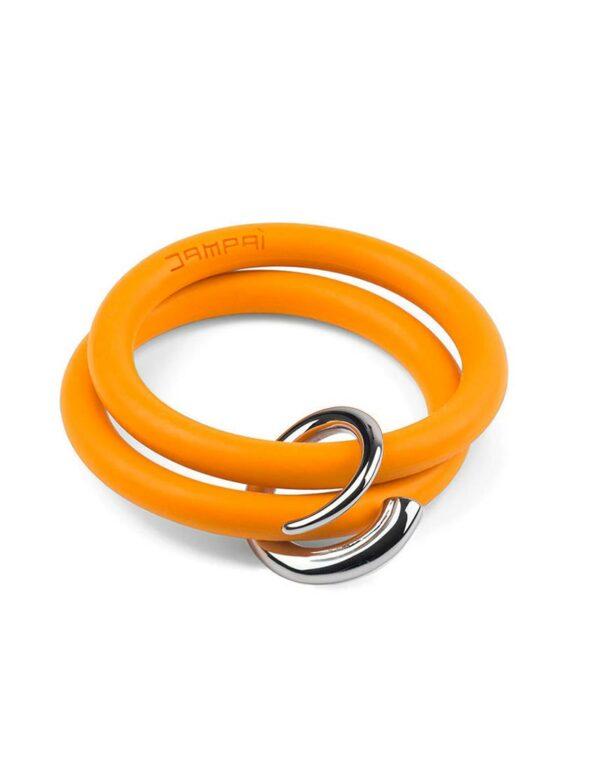 Braccialetti Bernardo&Girella in silicone colore arancione con accessorio in acciaio Dampaì