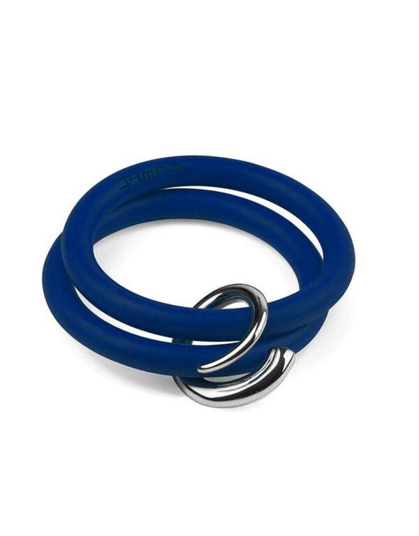 Braccialetti Bernardo&Girella in silicone colore blu con accessorio in acciaio Dampaì