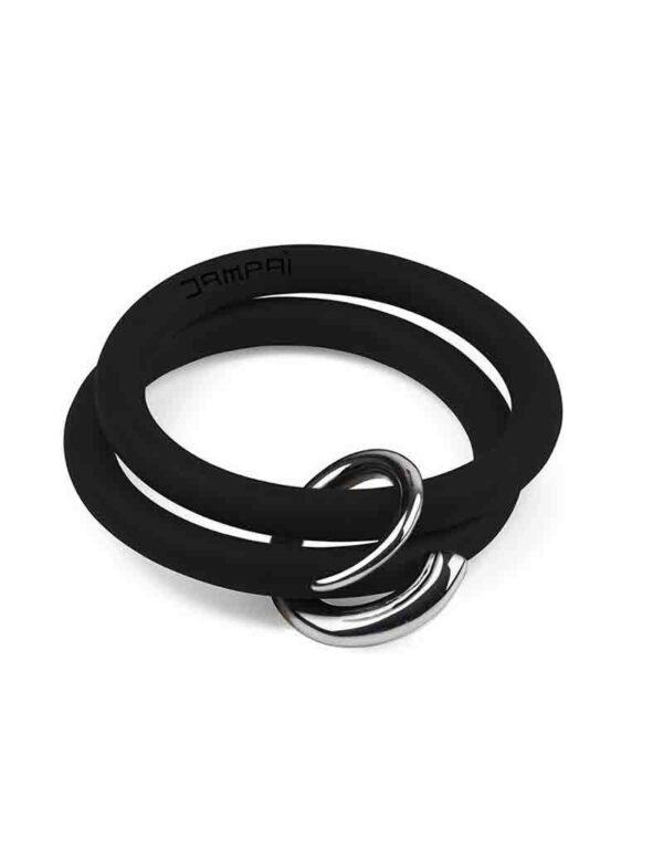Braccialetti Bernardo&Girella in silicone colore nero con accessorio in acciaio Dampaì