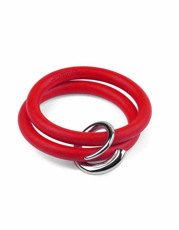 Braccialetti Bernardo&Girella in silicone colore rosso rossetto con accessorio in acciaio Dampaì