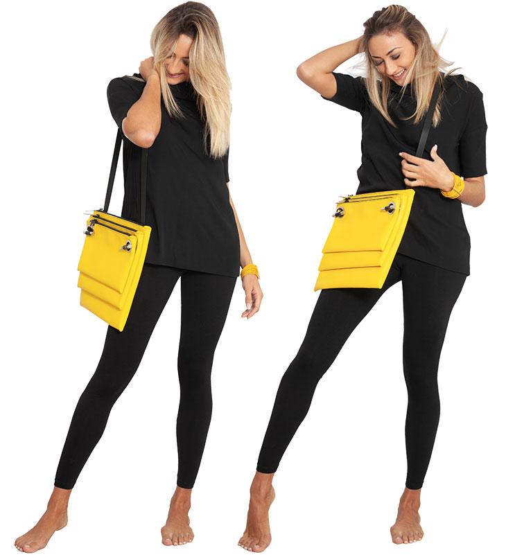 Borsa EILEEN&Tracolla Large&Medium&Small size – in pelle riciclata giallo smile Dampaì