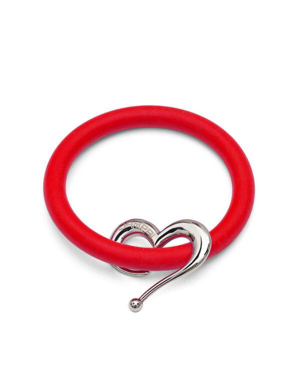 Braccialetti Bernardo&Cuore in silicone colore rosso rossetto con accessorio in acciaio Dampaì